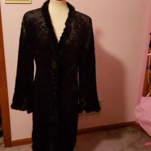1990s 90s Velvet faux Fur Long Coat Jacket size L